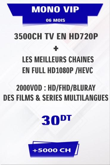 Abonnement IPTV 6 mois Mono VIP +5000 chaines TV, FILMS et SÉRIES