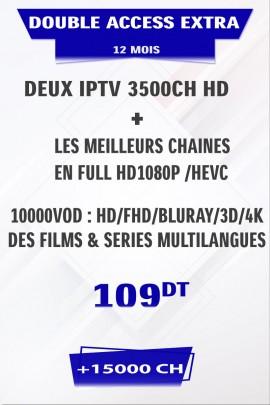 Promotion : 2 Abonnement IPTV 12 mois Mono VIP EXTRA +5000 chaines + FULL VOD 4K&3D