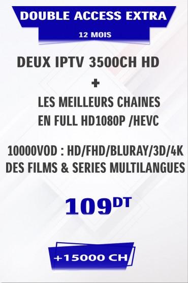 Promotion : 2 Abonnement IPTV 12 mois Mono VIP EXTRA +5000 chaines + FULL VOD 4K&3D tunisie