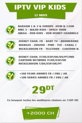 Abonnement IPTV KIDS 12 mois +500 Chaines TV