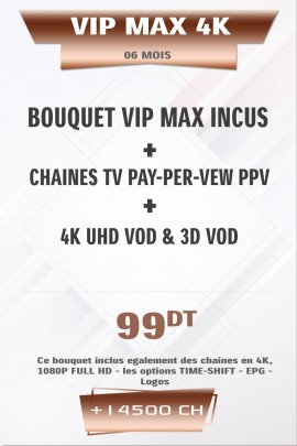 Abonnement IPTV VIP 4K + VOD 6 mois +38000 Chaines TV Live