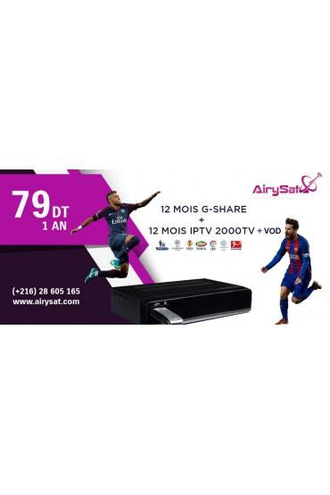 Promo - 12 mois G-SHARE + 12 Mois IPTV AIRYSAT 3500CH tunisie