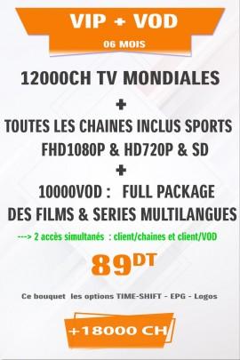 Abonnement IPTV VIP + VOD 6 mois +18000 Chaines