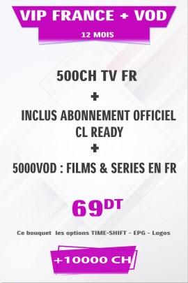 Abonnement IPTV France +500TV + FULL VOD 4K & 3D tunisie