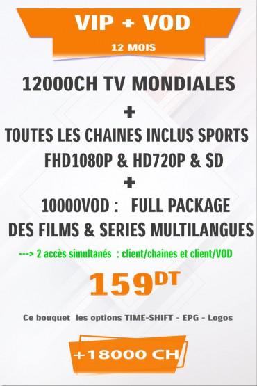 Abonnement IPTV VIP + VOD 12 mois +18000 Chaines tunisie