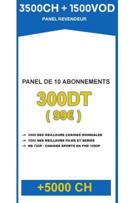 Revendeur IPTV 3500CH + 1500VOD - Panel de 10 abonnements / an