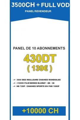 Revendeur IPTV 3500CH + 10000VOD - Panel de 10 abonnements / an