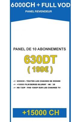 Revendeur IPTV 6000CH + 10000VOD - Panel de 10 abonnements / an