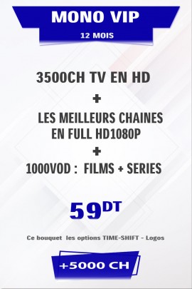 Abonnement IPTV 12 mois Mono VIP +5000 chaines TV + VOD