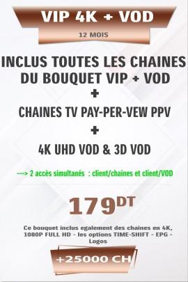 Abonnement IPTV 12 mois VIP 4K +25000 Chaines TV HD + VOD 4K & 3D