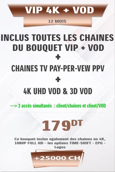 Abonnement IPTV 12 mois VIP 4K +25000 Chaines TV HD + VOD 4K & 3D tunisie