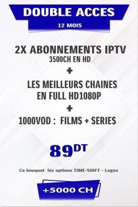 Promotion : 2 x Abonnement IPTV 12 mois Mono VIP +5000 chaines TV