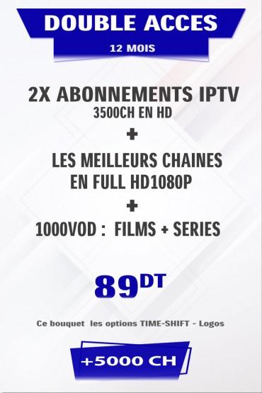 Promotion : 2 x Abonnement IPTV 12 mois Mono VIP +5000 chaines TV tunisie